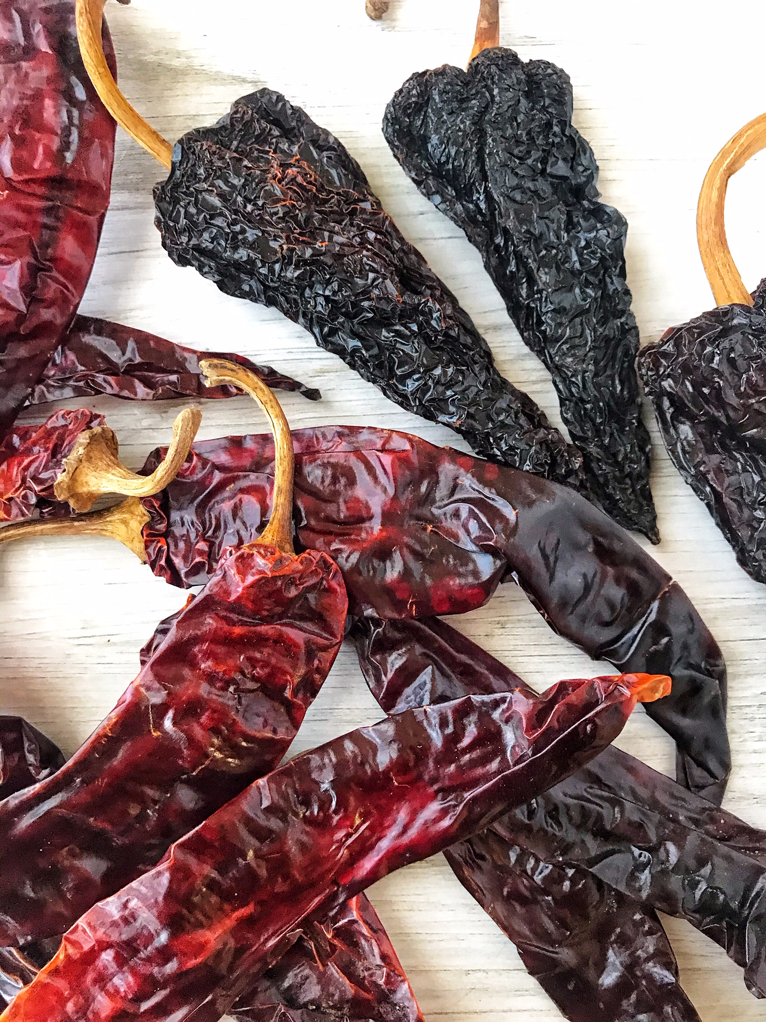 Dried guajillo and ancho peppers.