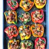 Bell peppers stuffed with chorizo and potatoes