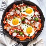 Chilaquiles Rojos with fried eggs
