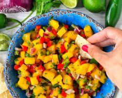 Mango salsa in a blue bowl