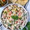 Mexican Chicken Salad in big white bowl.