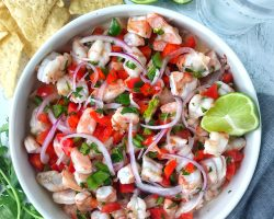 shrimp ceviche in white bowl