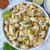 Street Corn Pasta salad in a white plate