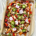 Tray of loaded chorizo fries