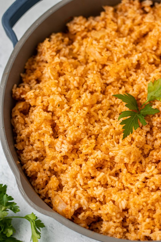 Close up of pan with Authentic Mexican Rice