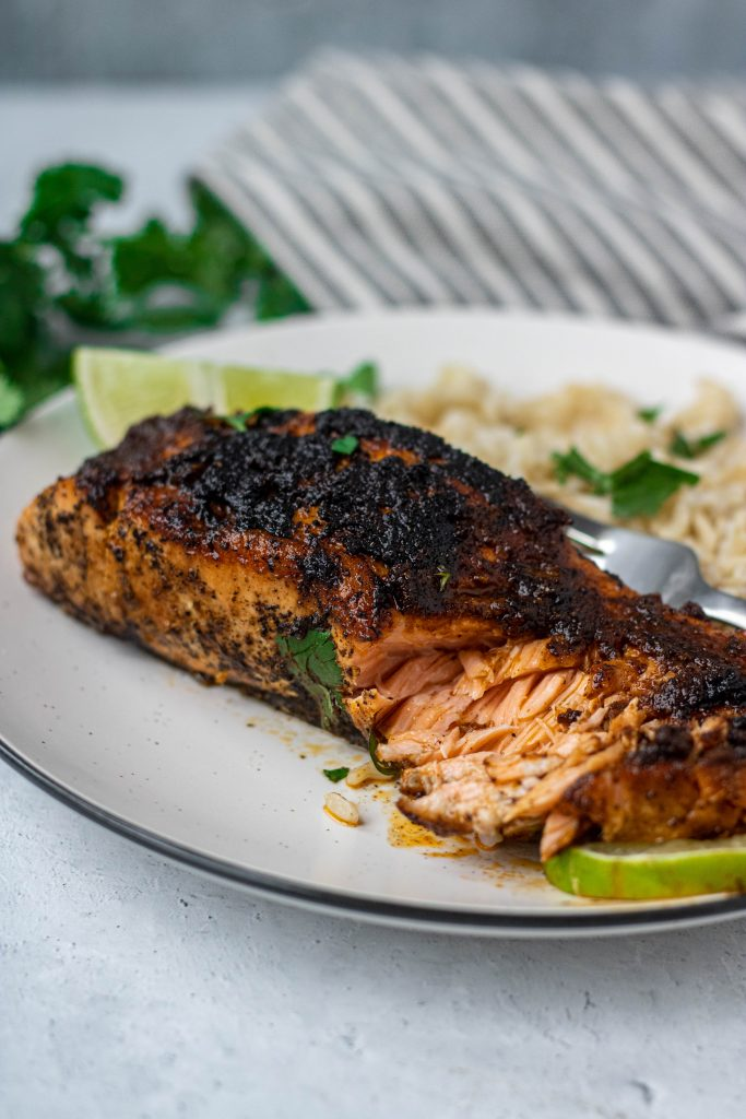 Chili Lime Salmon on white plate